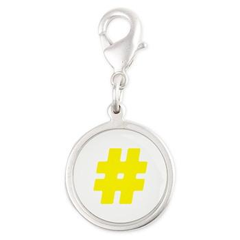 Yellow #Hashtag Silver Round Charm