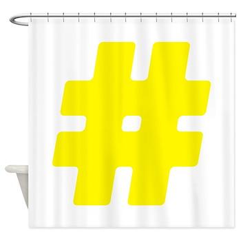 Yellow #Hashtag Shower Curtain