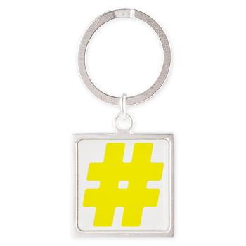 Yellow #Hashtag Square Keychain