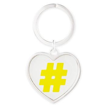 Yellow #Hashtag Heart Keychain