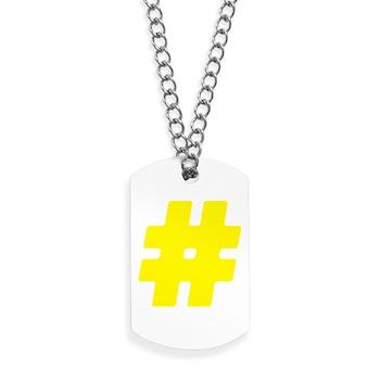 Yellow #Hashtag Dog Tags