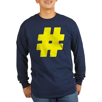 Yellow #Hashtag Long Sleeve Dark T-Shirt
