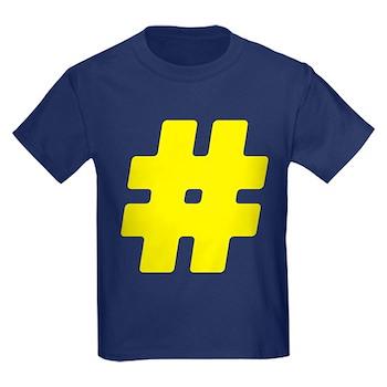 Yellow #Hashtag Kids Dark T-Shirt
