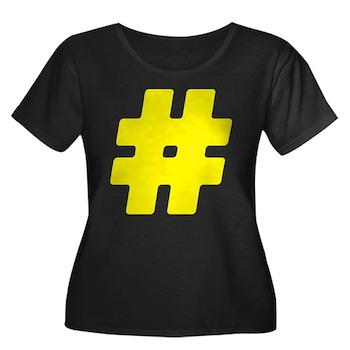 Yellow #Hashtag Women's Dark Plus Size Scoop Neck