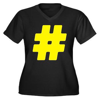 Yellow #Hashtag Women's Dark Plus Size V-Neck T-Sh