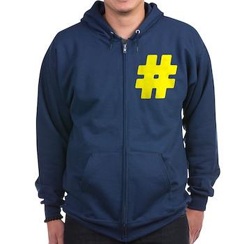 Yellow #Hashtag Dark Zip Hoodie