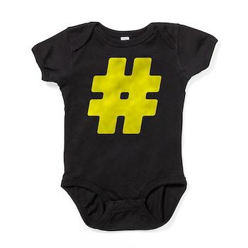 Yellow #Hashtag Baby Bodysuit