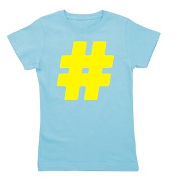 Yellow #Hashtag Girl's Dark Tee
