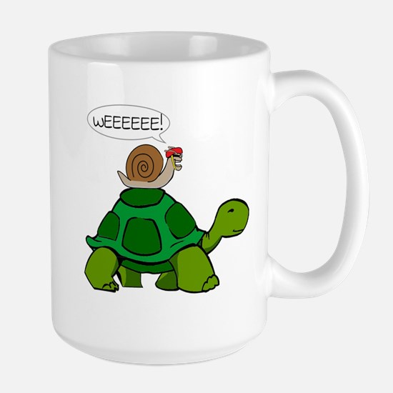 Snail on Turtle Mugs