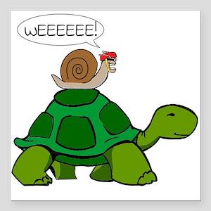 "Snail on Turtle Square Car Magnet 3"" x 3"""