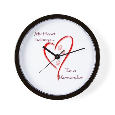 Komondor Heart Belongs Wall Clock