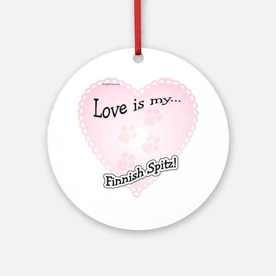 Love is my Finnish Spitz Ornament (Round)