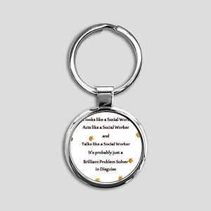 brilliant problem solver 2 Round Keychain