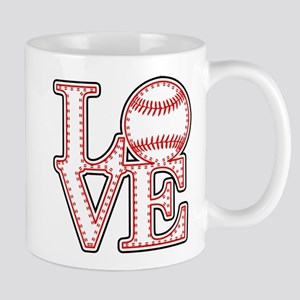 Love Baseball Laces Light Mugs