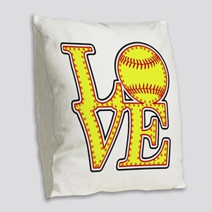 Love Softball Stitches Burlap Throw Pillow