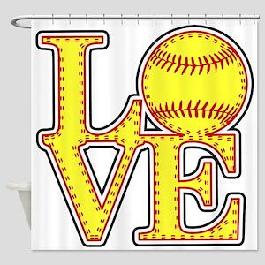 Love Softball Stitches Shower Curtain