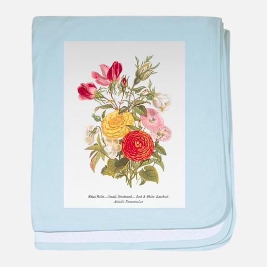 Violet, Rosebuds and Ranunculus baby blanket