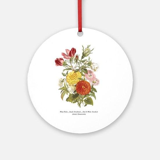 Violet, Rosebuds and Ranunculus Ornament (Round)