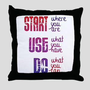 Start - Use - Do Throw Pillow