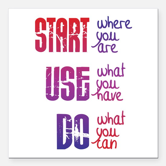 "Start - Use - Do Square Car Magnet 3"" x 3"""