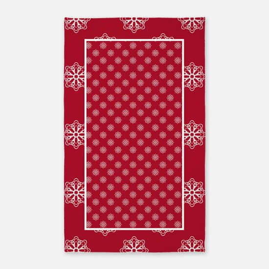 Dk Berry Red Snowflakes 3'x5' Area Rug