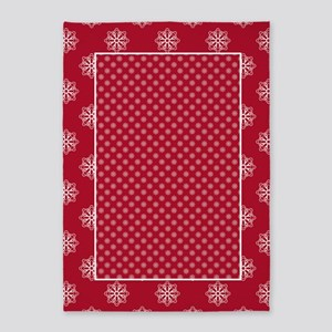 Dk Berry Red Snowflakes 5'x7'Area Rug