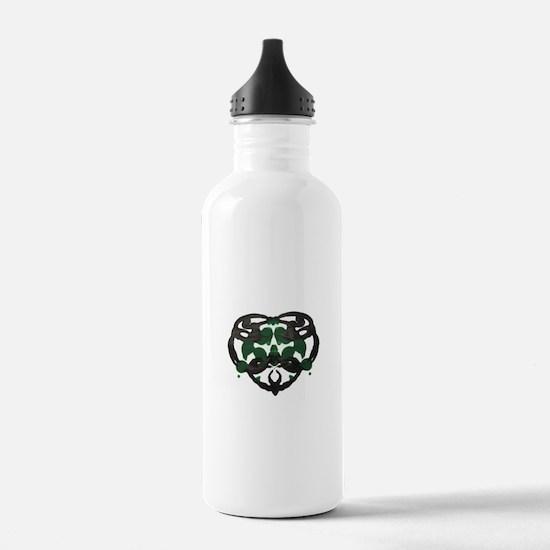 Celtic Green Heart Inkblot Water Bottle