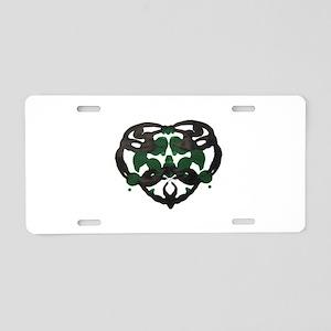 Celtic Green Heart Inkblot Aluminum License Plate