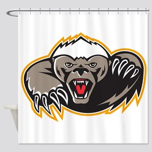 Honey Badger Mascot Claw Shower Curtain