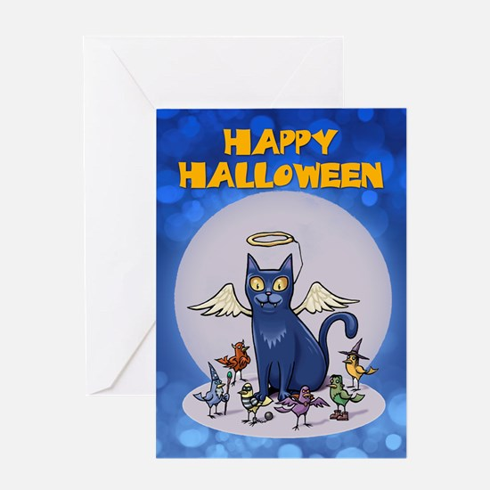 Halloween Greeting Card With Cat And Birds