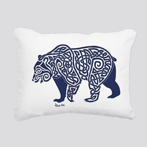 Bear Knotwork Blue Rectangular Canvas Pillow