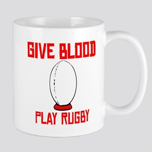 Give Blood Play Rugby Mugs