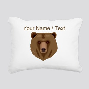 Custom Brown Grizzly Bear Rectangular Canvas Pillo