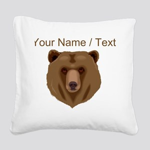 Custom Brown Grizzly Bear Square Canvas Pillow