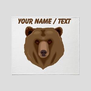 Custom Brown Grizzly Bear Throw Blanket