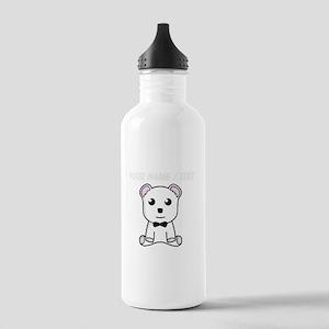 Custom White Teddy Bear Water Bottle