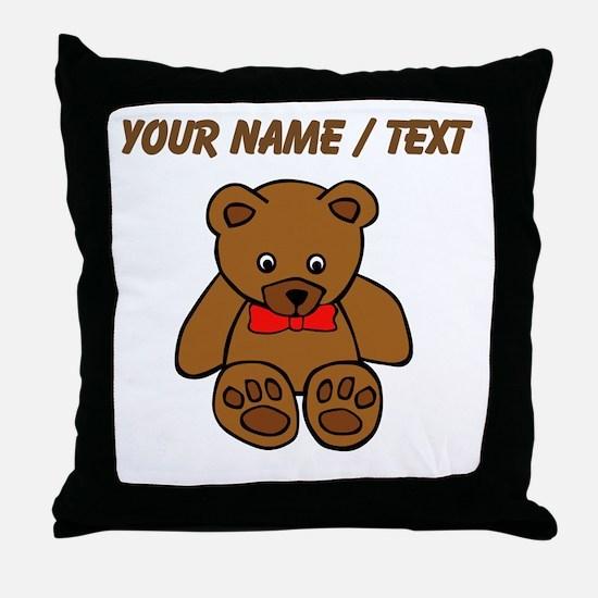 Custom Teddy Bear Red Bowtie Throw Pillow
