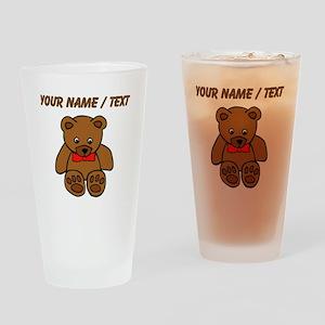 Custom Teddy Bear Red Bowtie Drinking Glass