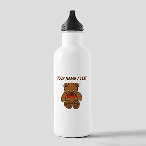 Custom Teddy Bear Red Bowtie Water Bottle