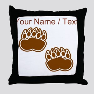 Custom Bear Paw Prints Throw Pillow