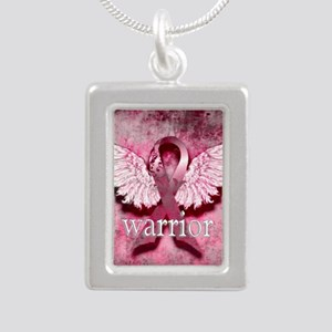 Pink Ribbon Warrior By V Silver Portrait Necklace