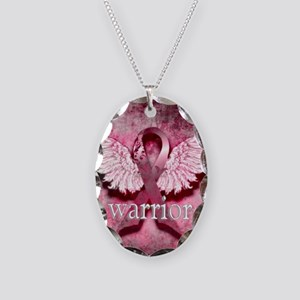 Pink Ribbon Warrior By Vetro D Necklace Oval Charm