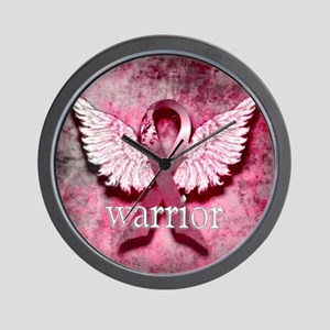 Pink Ribbon Warrior By Vetro Designs Wall Clock