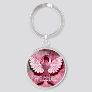 Pink Ribbon Warrior By Vetro Design Round Keychain