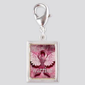 Pink Ribbon Warrior By Vetro Silver Portrait Charm