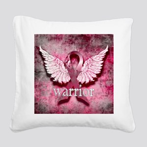 Pink Ribbon Warrior By Vetro  Square Canvas Pillow