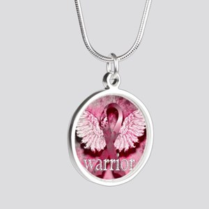 Pink Ribbon Warrior By Vetro Silver Round Necklace