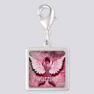 Pink Ribbon Warrior By Vetro  Silver Square Charm