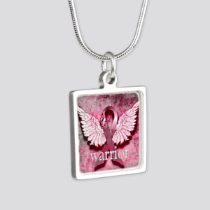 Pink Ribbon Warrior By Vet Silver Square Necklace
