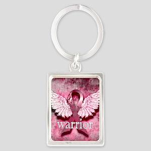 Pink Ribbon Warrior By Vetro Des Portrait Keychain